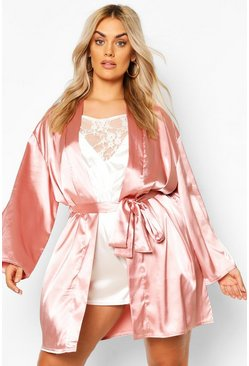 Blush pink Plus Satin Belted Mini Robe