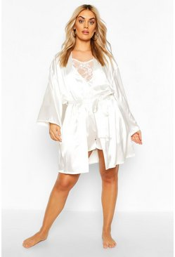 Ivory white Plus Satin Belted Mini Robe