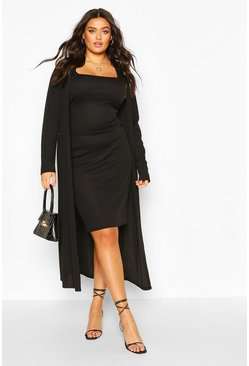 Black Plus Rib Midi And Kimono Dress