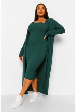 Emerald green Plus Rib Midi And Kimono Dress