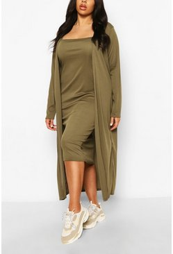 Khaki Plus Rib Midi And Kimono Dress