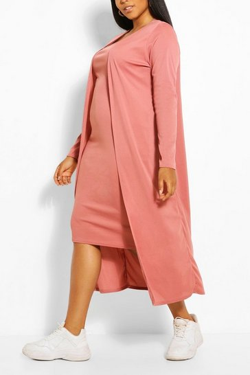 Rose pink Plus Rib Midi And Kimono Dress