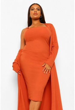 Rust orange Plus Rib Midi And Kimono Dress
