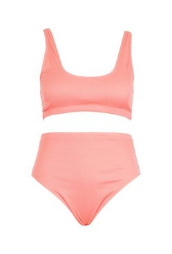 Coral Plus Rib High Waist Bikini