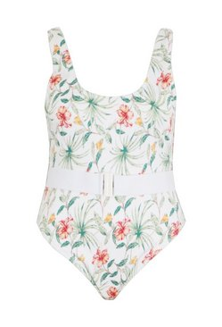 White Plus Tropical Rib Belted Swimsuit