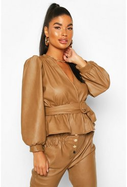 Tan brown Petite Belted Peplum Faux Leather Top