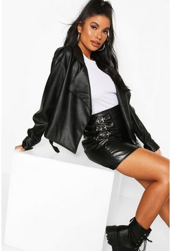 Black Petite Oversize Wrap Front Faux Leather Jacket