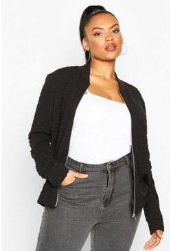 Black Plus Quilted Sweat Zip Through Bomber