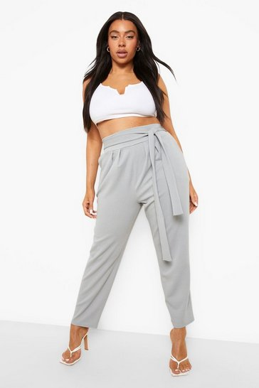 Grey Plus High Waisted Pleated Belted Wide Leg Trouser