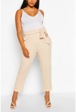 Stone Plus High Waisted Pleated Belted Wide Leg Trouser