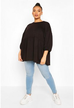 Black Plus Extreme Puff Sleeve Sweat Smock Top