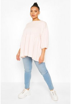Pink Plus Extreme Puff Sleeve Sweat Smock Top