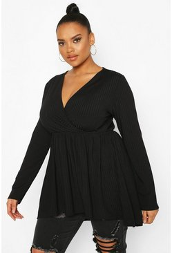 Black Plus Wrap Dipped Back Tunic Jersey