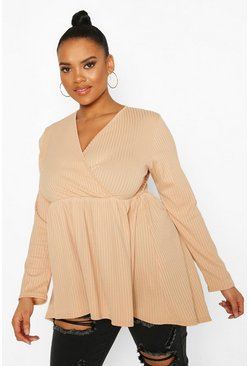 Stone beige Plus Wrap Dipped Back Tunic Jersey
