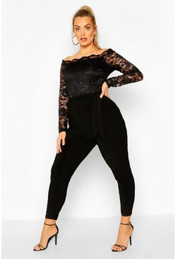 Black Plus Scallop Lace Off The Shoulder Jumpsuit
