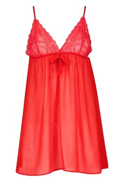 Red Plus Lace + Bow Babydoll