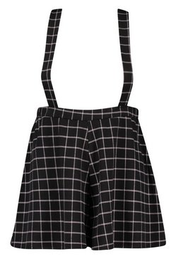 Black Plus Tailored Check Pinafore Short