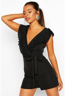 Black Petite Broderie Trim Playsuit