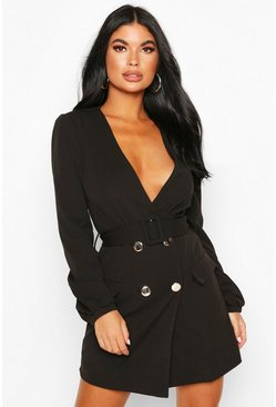 Black Petite Double Breasted Collarless Blazer Dress