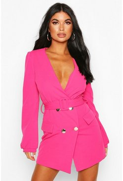 Hot pink pink Petite Double Breasted Collarless Blazer Dress