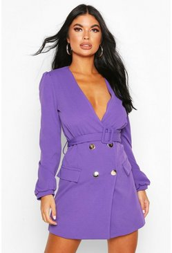 Violet purple Petite Double Breasted Collarless Blazer Dress
