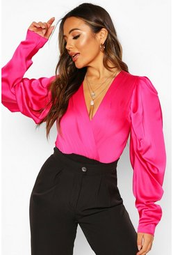 Bright pink pink Petite Volume Sleeve Satin Bodysuit