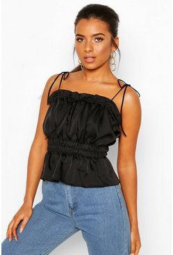 Black Petite Ruched Waist Satin Top