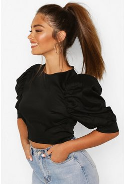 Black Petite Cotton Poplin Puff Ball Sleeve Top