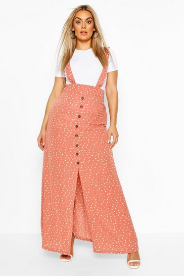 Dusky pink pink Plus Polka Dot Pinafore Maxi Skirt