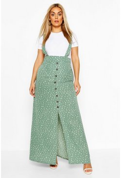 Sage green Plus Polka Dot Pinafore Maxi Skirt