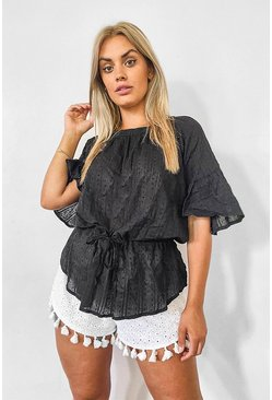 Black Plus Cotton Feel Stitched Detail Tunic Top