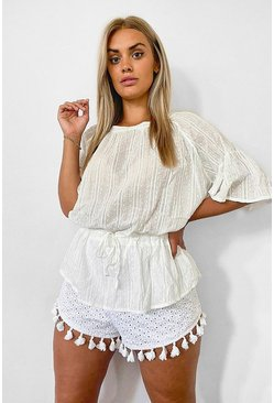 Ivory white Plus Cotton Feel Stitched Detail Tunic Top