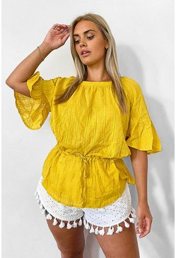 Mustard Plus Cotton Feel Stitched Detail Tunic Top