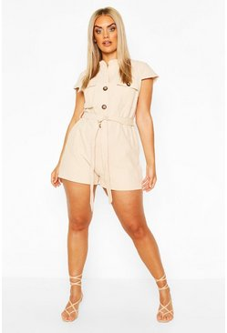 Stone beige Plus Button Through Utility Playsuit