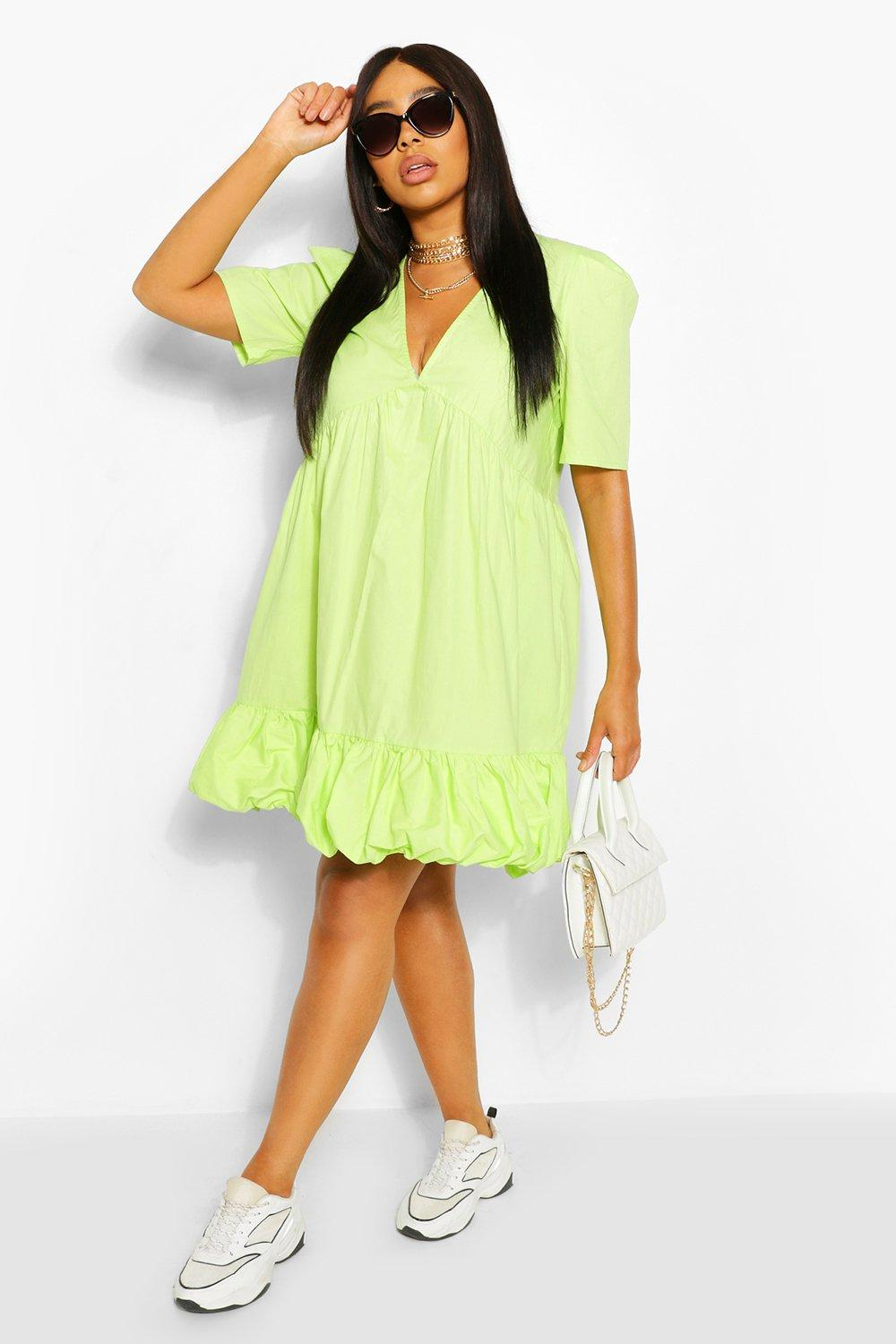 Plus Plunge Ruffle Hem Smock Dress 7