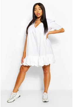 White Plus Plunge Ruffle Hem Smock Dress