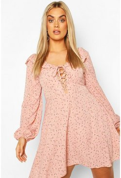 Pink Plus Floral Lace Up Skater Dress