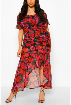 Black Plus Floral Print Bardot Midaxi Dress
