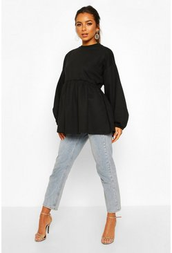 Black Petite Puff Sleeve Smock Sweat Top
