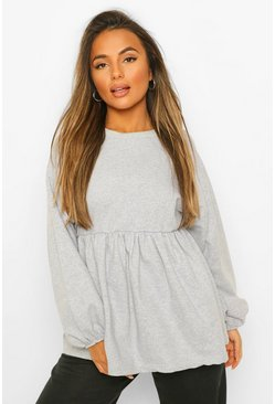 Grey marl grey Petite Puff Sleeve Smock Sweat Top