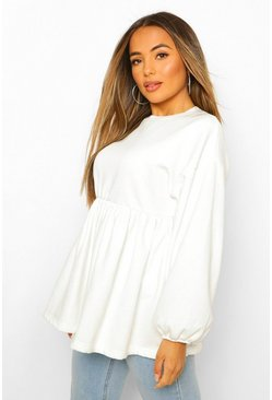 Ivory white Petite Puff Sleeve Smock Sweat Top