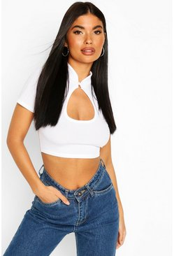 White Petite Cut Out Ribbed Crop T-Shirt