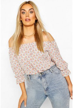 Ivory white Plus Floral Off The Shoulder Bardot Top