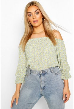 Mint green Plus Floral Off The Shoulder Bardot Top