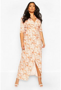Terracotta orange Plus Floral Tie Waist Maxi Dress