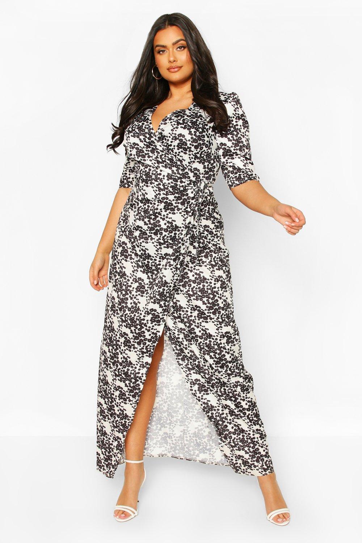 Plus Floral Tie Waist Maxi Dress 11