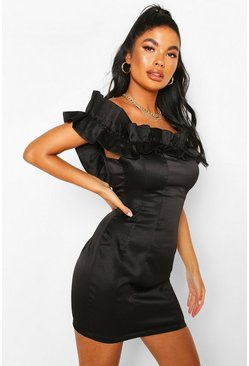 Black Petite Ruffle Off Shoulder Satin Mini Dress