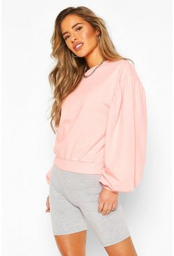 Peach orange Petite Acid Wash Puff Sleeve Sweat