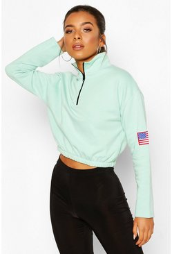 Mint green Petite Zip Up Flag Badge Crop Sweat