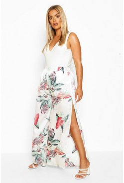 Ivory white Plus Tropical Print Wide Leg Satin Trousers